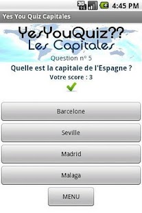 Capitales Yes You Quiz - screenshot thumbnail
