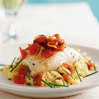 Oven-Roasted Sea Bass with Couscous and Warm Tomato Vinaigrette