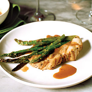 Spicy Soy-Ginger Grilled Striped Bass with Asparagus