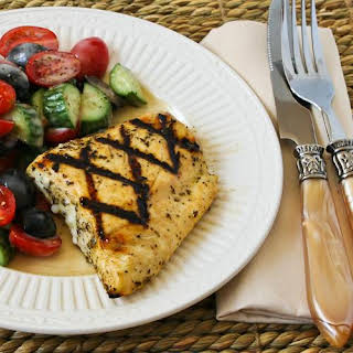Recipe for Grilled Fish with Garlic, Basil, and Lemon (Halibut, Tilapia, or Mahi Mahi).