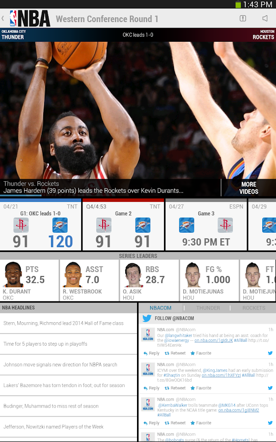 NBA Game Time for Tablets - screenshot