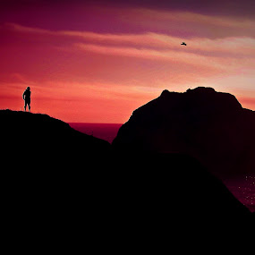 Dreaming by Jim Lancaster - Landscapes Sunsets & Sunrises ( think, wish, dream, sunset, face rock, beach, ponder )