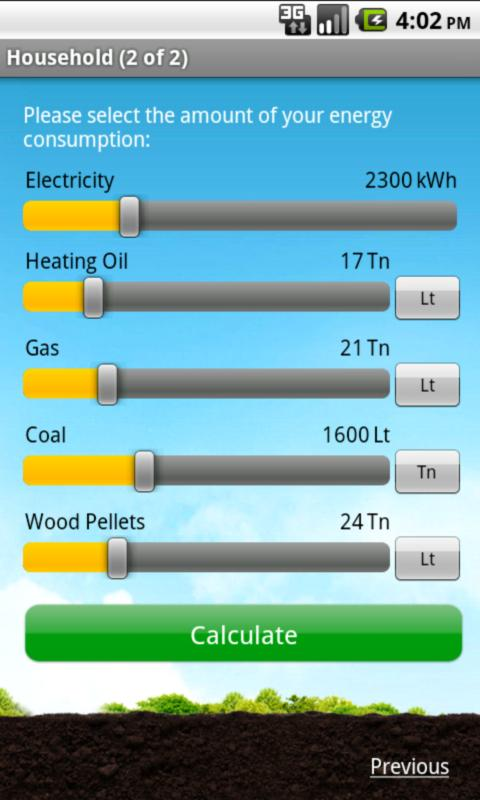 Ausante CO2 calculator- screenshot