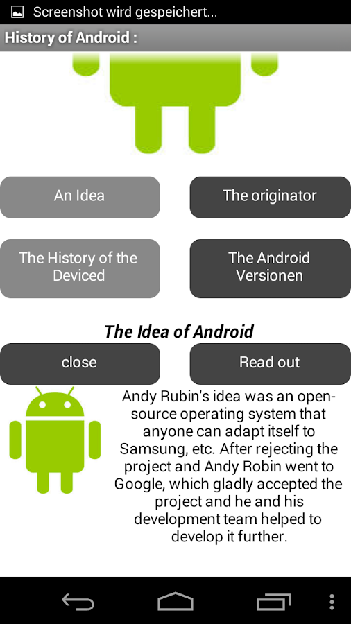 History of Android- screenshot