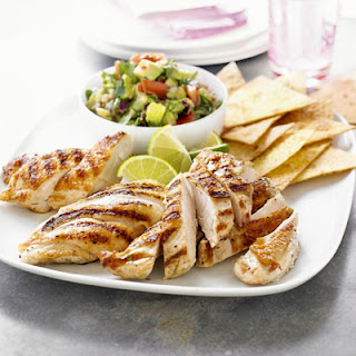 Grilled Chicken with Spicy Guacamole & Corn Chips Recipe