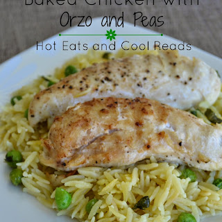 Baked Chicken Tenderloins with Orzo and Peas.