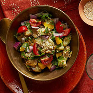 Eggplant Salad with Yellow Peppers & Red Onion.