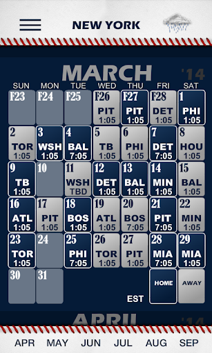 Baseball Pocket Sked - Yankees