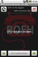 Screenshot of BOFH Excuse Generator