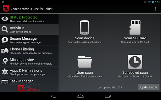 Zoner AntiVirus Free - Tablet