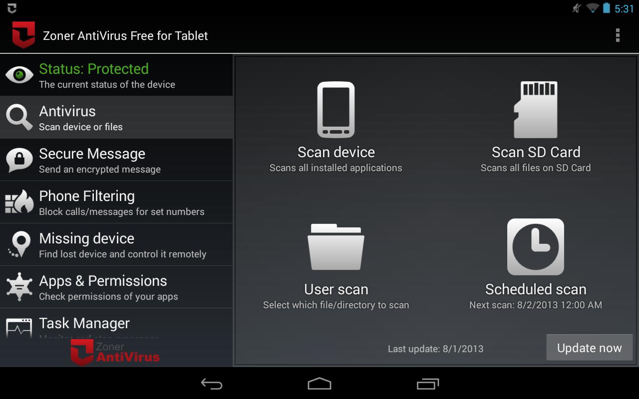 Zoner AntiVirus - Tablet - screenshot