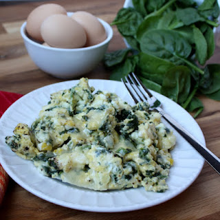 Cheesy Scrambled Eggs with Spinach a.k.a. Power Eggs.