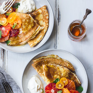 Ricotta Crèpes with Whipped Ricotta, Citrus, Honey, and Mint