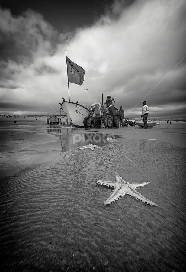 xávega by António Leão de Sousa - Black & White Landscapes ( canon, beaches, fishermen, arte xávega, costa de caparica, s. josé,  )