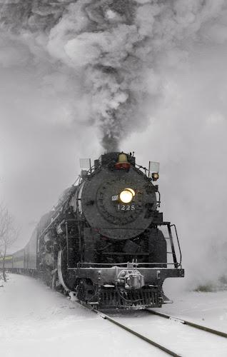 Pere Marquette 1225 by Nicole Baumchen - Transportation Trains ( winter, locomotive, snow, train, smoke, steam,  )