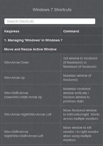 Keyboard Shortcut for Windows