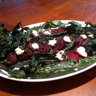 Beet Salad With White Cheese, Fried Capers And Kale Chips.