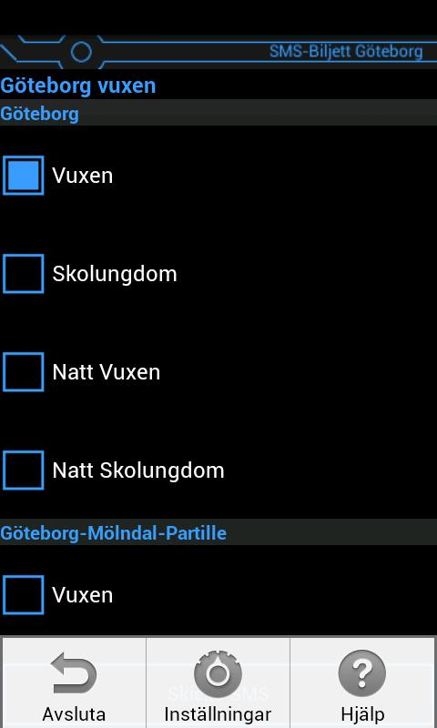 SMS-Biljett Göteborg- screenshot