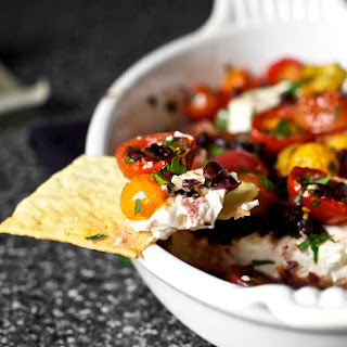 Baked Feta with Tomatoes and Olives.