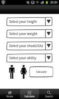 Screenshot of Snowboard Size Calculator
