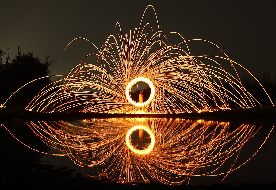 Spinning Fire by Karthi Keyan - Abstract Fire & Fireworks ( abstract, reflection, fine art, burning, fire )