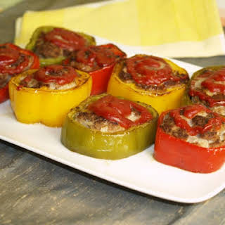 Pan-Fried Meatloaf In Tricolor Peppers.