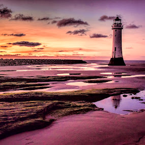 Winter on Perch Rocks by Ian Yates ヅ - Landscapes Sunsets & Sunrises ( shore, brighton, new, wirral, lighthouse, fort, beach, sunset. )