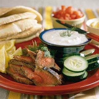 London Broil Sandwiches with Yogurt-Cucumber Sauce.