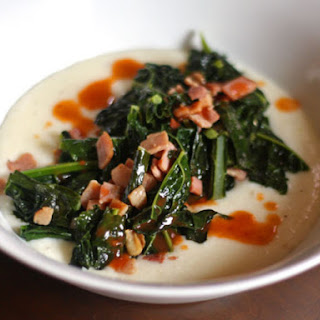 Cheesy Grits With Sautéed Ham and Kale