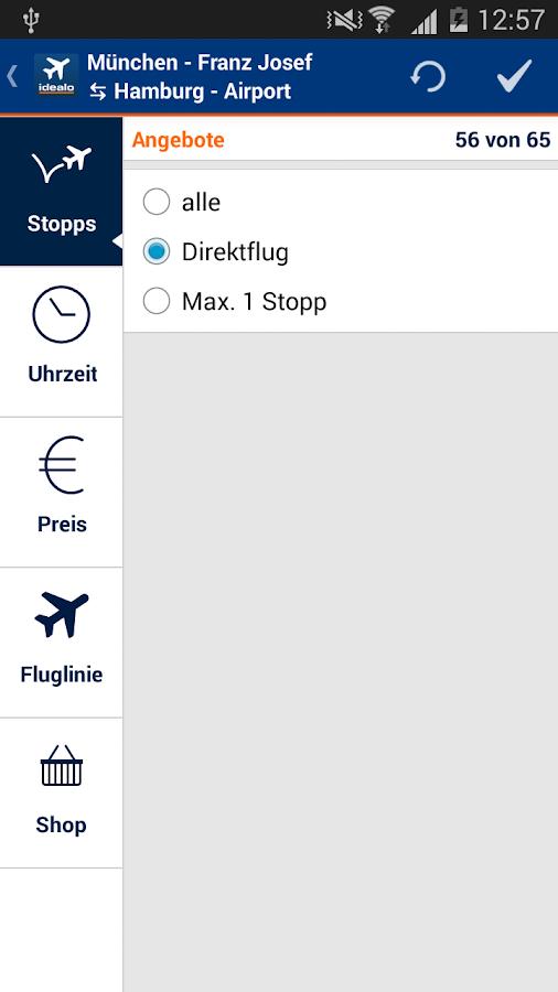 idealo Flug Preisvergleich – Screenshot