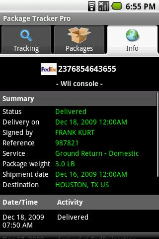 Package Tracker Pro - screenshot