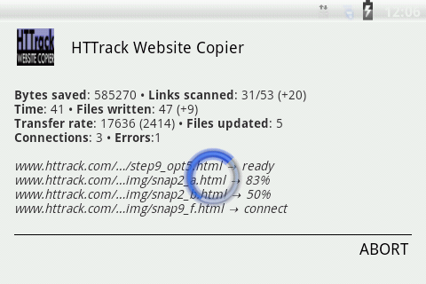 HTTrack Website Copier- screenshot