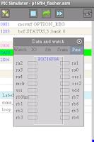Screenshot of PICmicro simulator & assembler