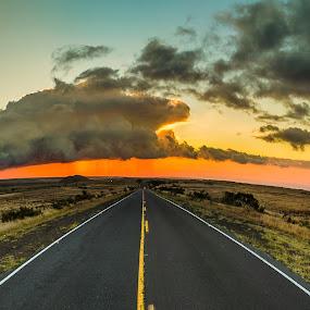 Stormy roads ahead by Matt Mcclenahan - Transportation Roads ( clouds, pano, sunset, wamiea, converging lines, road, storm clouds, storm, panorama, rain, hawaii )