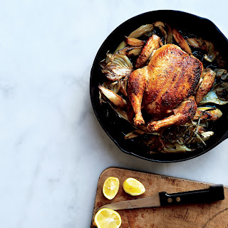 Skillet Roast Chicken with Fennel, Parsnips, and Scallions