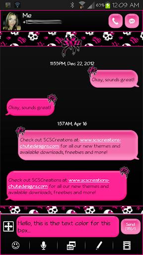 GO SMS - Hot Pink Zebra Skull