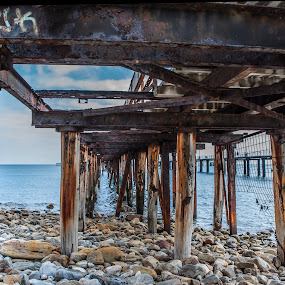 Rustic Charm by Sharon Wills - Buildings & Architecture Decaying & Abandoned ( water, south australia, sand, waves, australia, jetty, beach, rapid bay,  )