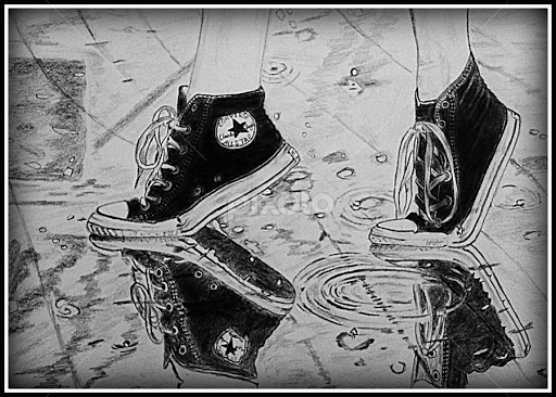 Converse shoes in rain by er mohit bangar drawing all drawing shoes sketch
