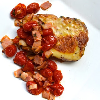 Welsh Rarebit and Bacon-Roasted Tomatoes on Cheddar Beer Bread.