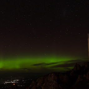 Aurora Australis over Tasmania by Matt Green - Landscapes Starscapes ( southern lights, stars, d800, aurora, aurora borealis, night, nikon, landscape, starscape, nightscape, city )
