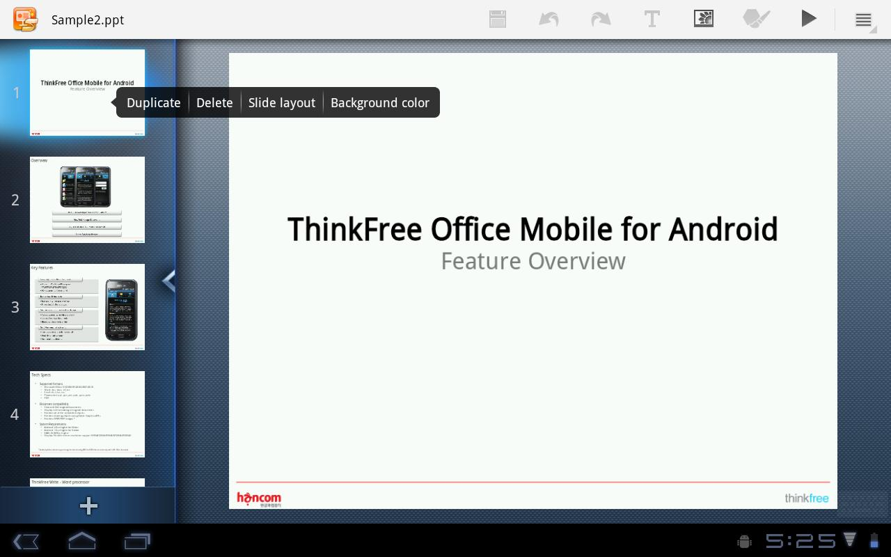 ThinkFree Mobile for Tablet - screenshot