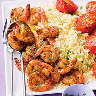 Harissa Shrimp with Couscous, Tomatoes, and Mint.