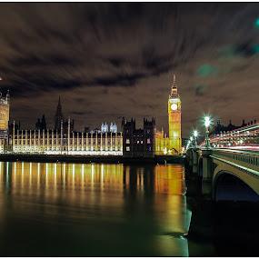 House Of Parliament  by Nachau Kirwan - City,  Street & Park  Night ( bus, night photography, waterscape, light trails, fun, river thames )