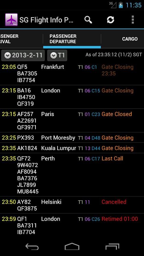 Singapore Flight Info Pro- screenshot