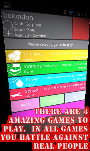 WordWarX Anagram Word Game