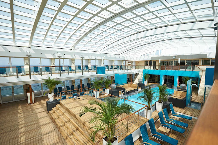 Head to Europa 2's pool deck to take laps in the impressive pool or relax in one of the sun lounges.