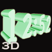 3D Green Digital Clock