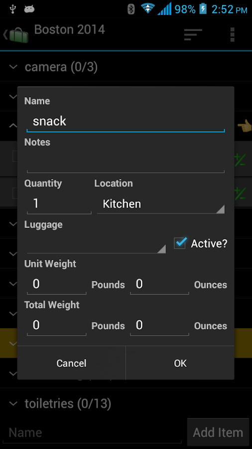 Packing List- screenshot