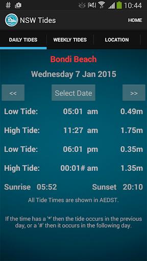 Sydney NSW Tide Times
