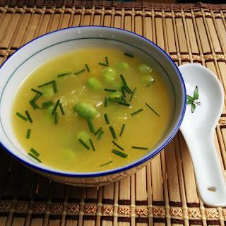 Spaghetti Squash Miso Soup with Edamame